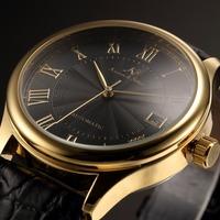 KS Luxury Brand Calendar Display Roman Numerals Dial Leather Strap Automatic Self Wind Mechanical Clock Men Casual Watch /KS242