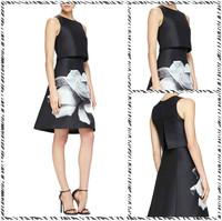 Free shipping 2015 Spring New Women's Round Neck Sleeveless Dress Stitching Temperament KC888