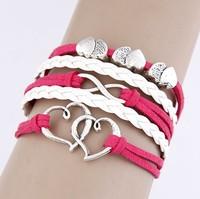 2014 Fashion simple many heart cross Infinity bracelet Charm Leather Multilayer Vintage Bracelet jewelry for women wholesale