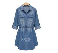 014 Spring Autumn Women's Denim Long-sleeve Slim Waist Casual Dress XL 2XL 3XL 4XL 5XL