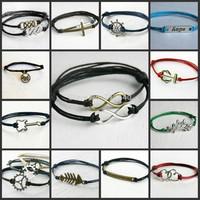 Infinity,anchor,dog,Sailing Wheel,cross,punk,wheat,guitar handmade wax cord Bracelet, pick your styles/color,6pcs #031