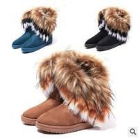 2014 Autumn Winter Warm high long snow boots artificial fox rabbit fur leather tassel women's shoes free shipping