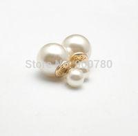 Hot Selling 2014 New Arrival Fashion Women's Celebrity Runway Double Pearl Beads Plug Earrings Ear Studs Pin