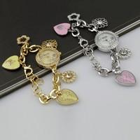 Girl's Jewelry Diamond Chain Bracelet Cuff Quartz Dress Wrist Watch Wristwatches 85983