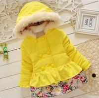 2014 girl outwear for winter lacework children clothing winter coat
