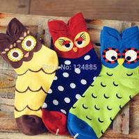 Autumn and winter High quality Cotton Socks Candy Color Women socks Girl owl cartoon Socks Mix 52269