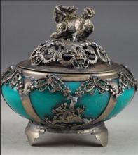 Tibet Silver inlay Jade green Lion Incense Burner(China (Mainland))