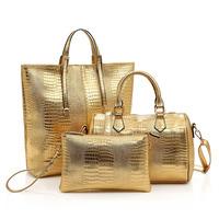Women Three-piece Crocodile Pattern Handbag Autumn & Winter PU Leather Shoulder Bag Fashion Boston Messenger Bag Female Clutches