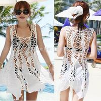 2015  3 Color  Sleeveless  Crochet beach cover up Lace Blouse blusas de renda   Women Swimwear Bikini  cotton  Dress Knitted