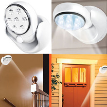 7 LED Wireless Motion Sensor Light 360 degree rotation free wire weatherproof Free Shipping(China (Mainland))
