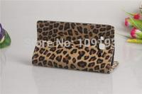 Wallet Luxury Leopard Leather Flip Cover Case for HTC Desire 700