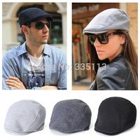 Free Shipping Hot Sale Classic Design Men Women Berets Cabbie Newsboy 3 Pure Color Flat Hat Fashion Casual Golf Driving Sun Cap