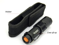 Mini ZOOMABLE 7W CREE Q5-XPE ZOOM Tactical AA Battery OR 14500 battery mini Flashlight Torch Lamp+ mini Holster