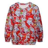 Fashion Harajuku Sweaters and Pullovers Digital Printed Sweatshirt Xmas Homme Femme Christmas Santa Claus Hoodies