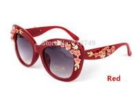 2015 fashion women rose flower sunglasses,brand design UV cat eye sun glasses for women,free shipping new arrival sunglass