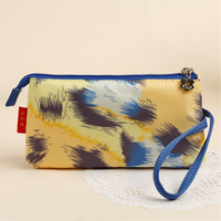 Free shipping high quality fashion yellow Leopard three layer iPhone mobile portable wallet women clutch bags storage bag