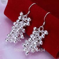 Fashion 925 Sterling Silver womens women Female earrings hook Bright Bright bead drop dangle girl friend birthday gift box KE-08