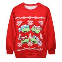 Fashion Harajuku Sweaters and Pullovers Digital Printed Sweatshirt Xmas Christmas Teenage Mutant Ninja Turtles Womens Hoodies