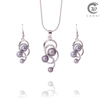 Женщины кристалл жемчуг комплект ювелирных изделий ожерелье серьги свадебные ну вечеринку мода винтаж платье аксессуары костюма африканских бусины комплект