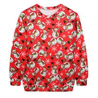 Fashion Harajuku Sweaters and Pullovers Digital Printed Sweatshirt Xmas Homme Femme Christmas Red Snowman Hoodies