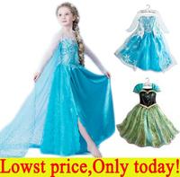 2014 New Pettigirl Baby Girls Frozen Elsa Anna Coronation Dress Kids Short Sleeve Princess Shining Printing Cosplay Costume 2-6Y
