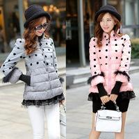 2014 Winter Korean Princess Short Coat Dot Print Cute Jackets Ladies Winter Rabbit Fur Sleeve Winter Princess Short Black Coat91