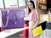 New  European fashion women handbag Candy-colored slung braided shoulder bags diagonal  small  PU faux leather messenger bags