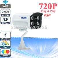 Mini Waterproof Outdoor HD 720P IP Camera P2P Plug Play IR Cut And 4 array IR Leds Night Vision