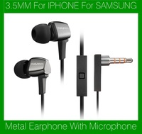 Wallytech Original WHF-128 Metal 3.5mm Earphone Headphone With Microphone for iphone for Samsung Free Shipping