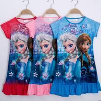 One pcs!New 2014 Summer girls dress children clothing cartoon Frozen Anna dress kids child baby girls dresses clothes D0606#