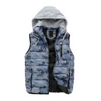 Hot sale free shipping men winter vest hooded cotton-padded masculino waistcoat sleeveless jackets 3 colors