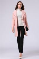 High quality 2015 winter New European American big new women woolen coat long section luxury lapel pink wool coat free shipping