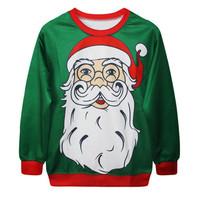 Fashion Harajuku Sweaters and Pullovers Digital Printed Sweatshirt Xmas Christmas Santa Claus Head Homme Femme