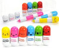 DHL 1000pcs/lot Promotional Gift Cute Smiling Face Pill Ball Point Pen Telescopic Vitamin pen Capsule Ballpen for School Use