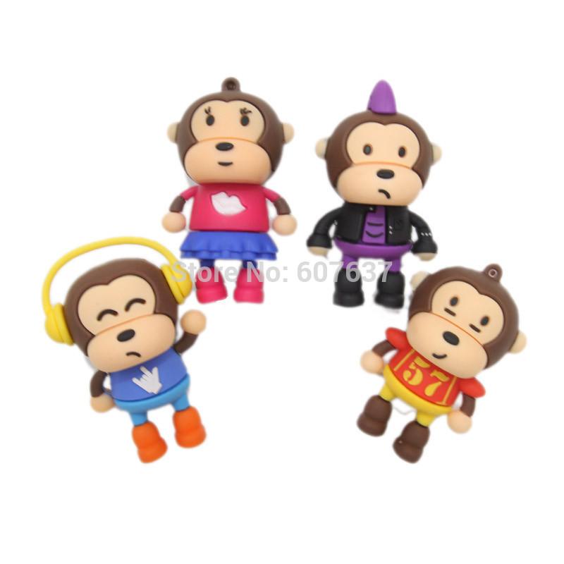 Hot+4 Cartoon pendrive monkey styles usb flash drive memory stick 4GB 8GB 16GB 32GB USB 2.0 flash pen drive free shipping(China (Mainland))