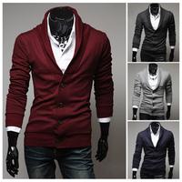 Drop Shipping Men Sweaters Cardigan Knitted Busines Fashion Turn-Down Collar Design Jumper Camisola Cotton Man Slim Sweater W263