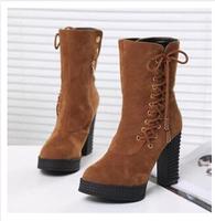 Ladies Autumn Ankle Boots Heels Platform Lace Up Ankle Boots For Women Pumps Shoes Woman Female SZHP Z-906