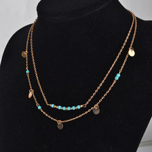 TX1209 Simple Silver and gold coin kallaite bead double chain necklace for women free shipping