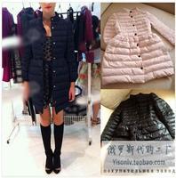 2014 winter fashion bow slim waist slim medium-long bulkness sweep wadded jacket cotton-padded jacket outerwear