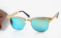 2015 New Style Designer Metal Sunglasses Men's/Women's Brand 3507 CLUBMASTER ALUMINUM Gold Sunglass Jade Iridium Lens 51mm