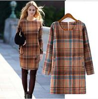 European New Plaid Pattern Women Vintage Woolen Dress Long Sleeve O Neck Lady Boutique Winter Dress YS93437