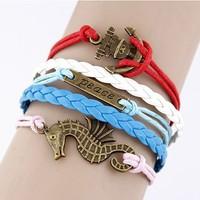 Fashion simple anchor sea horse Infinity bracelet Charm Leather Multilayer Vintage Bracelet jewelry for women wholesale