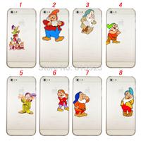 For iPhone 4 4s 5 5s 5c 6 4.7 inch , 7 Dwarfs Doc Bashful Sleepy Sneezy Happy Dopey Grumpy  Clear Transparent Case