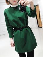 New Arrivals 2015 autumn winter New women woolen coat vintage long sleeve pure color wool coat lapel new brand clothes with belt