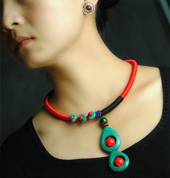Handmad старинные ожерелье оригинальный дизайн этническая ожерелье бирюзовый и красный ...