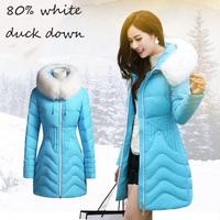 80% white duck down jacket female thickening large fur collar slim medium-long women's down coat