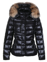 2014 thick women goose down jackets slim raccoon fur Armoise short  white down coats fashion lady winter dress