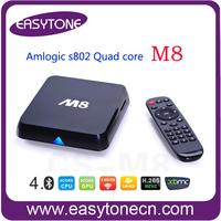 4K 1080P M8 Amlogic S802 2GB/8GB Android M8 TV Box Quad Core HDMI Dual WiFi 2.4G/5G Pre-installed XBMC APK IPTV HDD Freeshipping