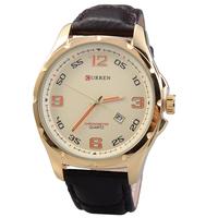 Men's Casual Watch Curren 8121 Luxury Brand Quartz Watch Leather Strap Dress Wristwatches Gold Steel Case relogios masculinos
