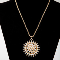 Bohemia Sunflower refined pearl sweater chain necklace  xl170